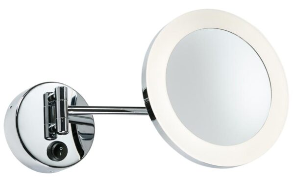 Adjustable 3w LED bathroom wall mounted magnifying mirror in chrome IP44