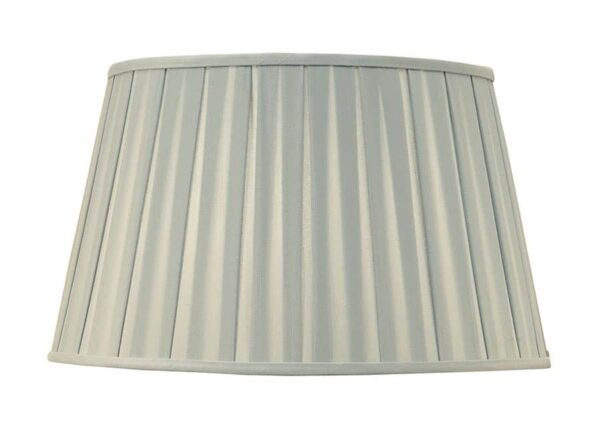 Wells Pleated Faux Silk 14 Inch Table Lamp Shade Duck Egg