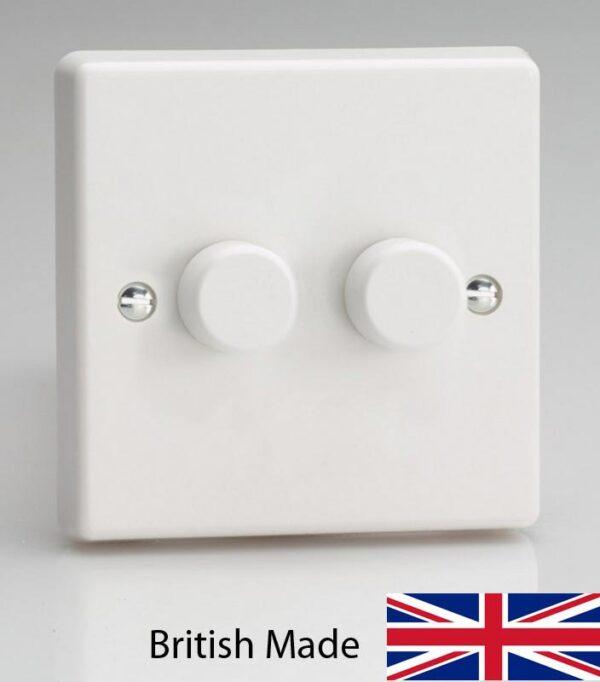 Varilight V-Pro 2 x 120W LED 2 Gang Rotary Dimmer Switch White