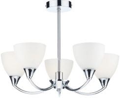 Dar Watson 5 Light LED Semi Flush Polished Chrome