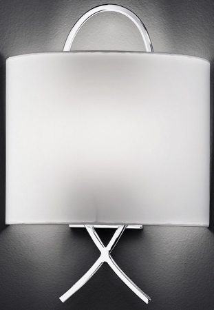 Modern Chrome Wall Light With Off White Half Shade