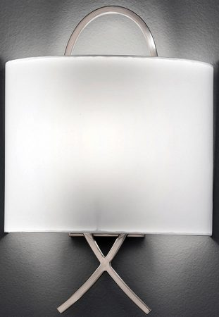Modern Satin Nickel Wall Light With Off White Shade