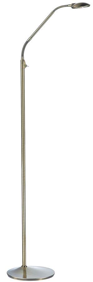 Dar Wellington Modern Antique Brass 7w LED Floor Reading Lamp