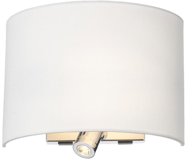Wetzlar Switched Wall Light With LED Reading Light Chrome