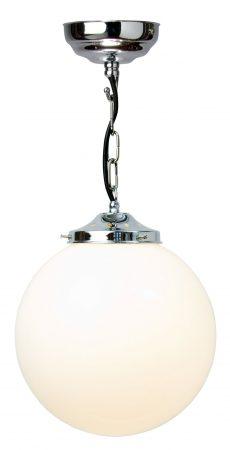 Polished Chrome 25cm Opal Glass Globe Pendant Light UK Made