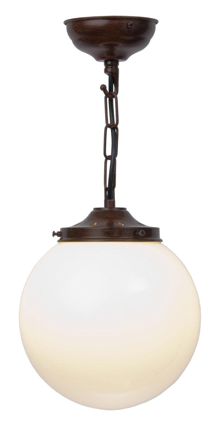 Antique Bronze 20cm Opal Glass Globe Pendant Light Uk Made