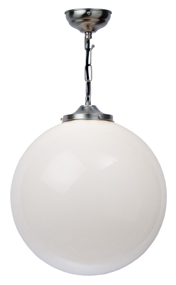 Matt Nickel 30cm Opal Glass Globe Pendant Light UK Made