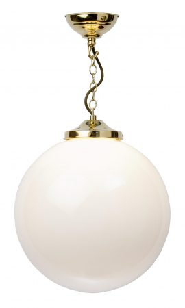 Polished Brass 35cm Opal Glass Globe Pendant Light UK Made