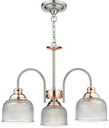 Dar Wharfdale Satin Chrome Copper 3 Light Pendant Glass Shades