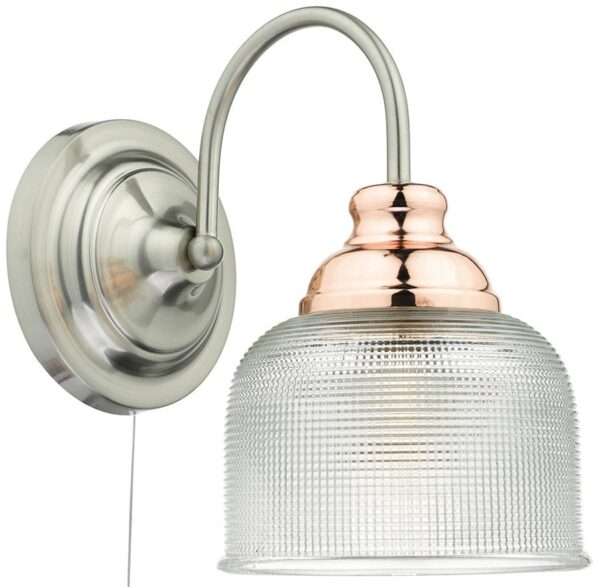 Dar Wharfdale Switched Satin Chrome Copper Wall Light Glass Shade