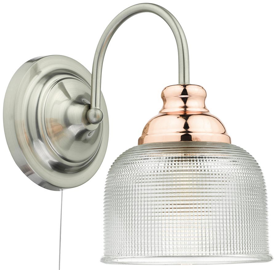 Wall Lights Satin Chrome : Wharfdale Switched Satin Chrome Copper Wall Light Glass Shade Dar WHA0746
