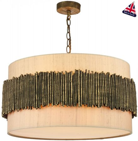 David Hunt Willow Modern 4 Light Ceiling Pendant Gold Cocoa