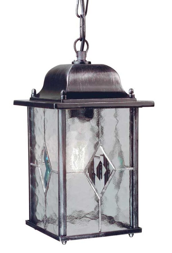 Elstead WX9 Wexford traditional hanging outdoor porch lantern in black & silver