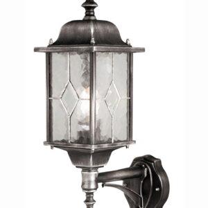 Elstead WX1 PIR Wexford traditional outdoor PIR wall lantern in black & silver