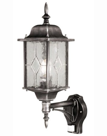 Wexford Traditional Outdoor PIR Wall Lantern Black & Silver