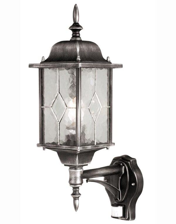 Wexford Traditional Outdoor PIR Wall Lantern Black & Silver