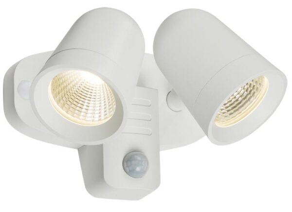 White outdoor wall twin LED spot light PIR sensor manual override IP65