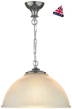 David Hunt Yeats Small Ribbed Glass Pendant Light Pewter