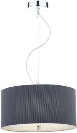Dar Zaragoza Modern 3 Light Pendant 40cm Grey Drum