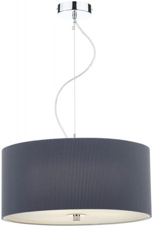Dar Zaragoza Modern 3 Light Pendant 60cm Grey Drum