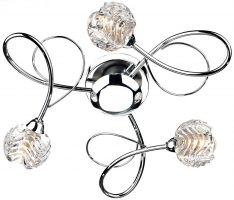 Dar Zelda Modern 3 Lamp Flush Ceiling Light Chrome