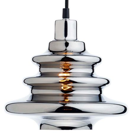 Dar Zephyr Modern Pendant Lamp Shade Chrome Glass