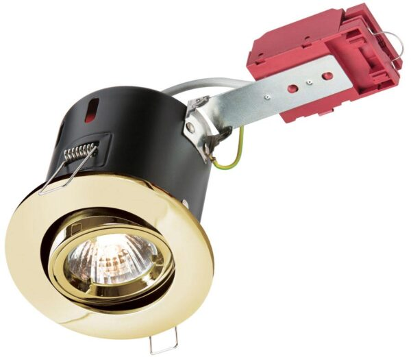 Adjustable GU10 IC Fire Rated Tilting Down Light Polished Brass