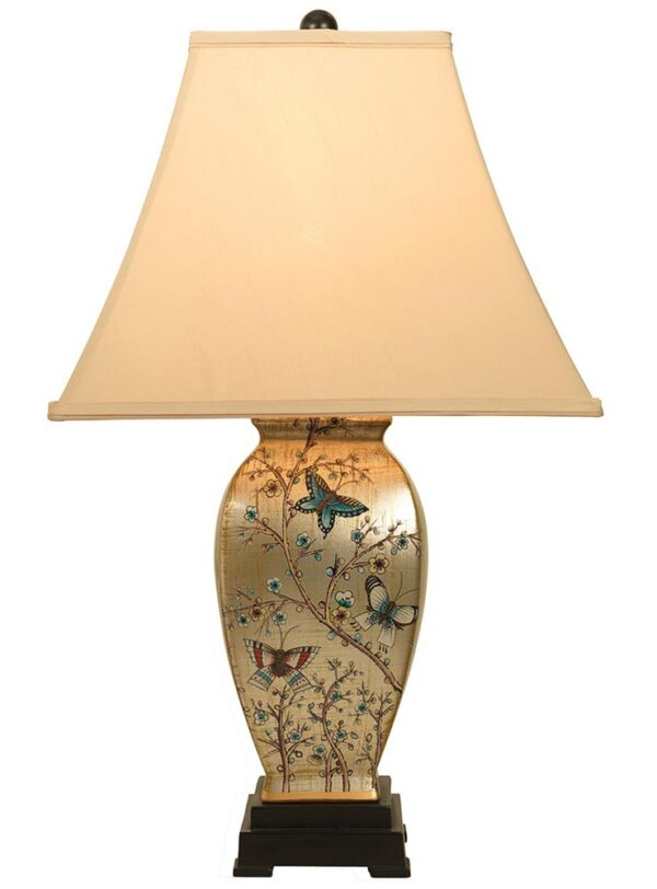 Admiral Oriental Butterfly & Blossom Design Table Lamp Tapered Shade