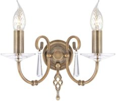 Elstead Aegean Hand Forged Aged Brass 2 Lamp Wall Light