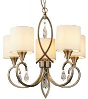 Alberto 5 Light Chandelier Antique Brass Linen Shades Crystal