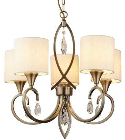 Alberto 5 Light Chandelier Antique Brass Linen Shades Crystal