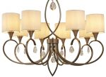 Alberto 8 Light Large Chandelier Antique Brass Linen Shades Crystal