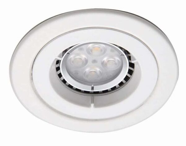 Gloss white iCage 90-minute fire rated fixed mini downlight GU10