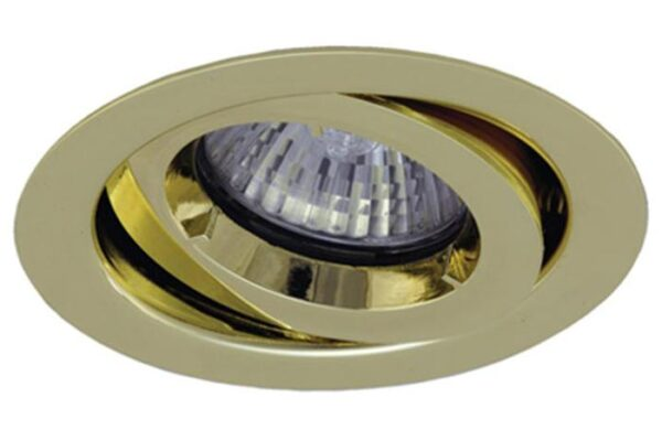 Polished brass iCage 90-minute fire rated mini tilt down light GU10