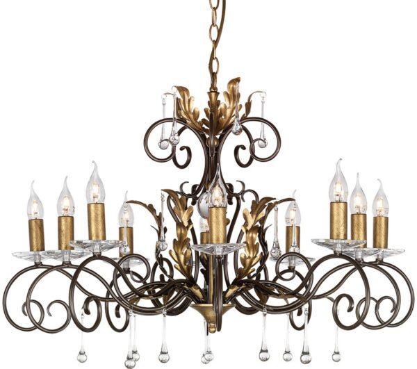 Amarilli Bronze & Gold 10 Light Large Chandelier Made In Britain