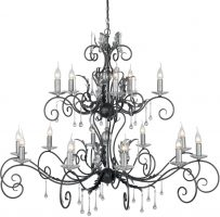 Amarilli Black And Silver 15 Light 2 Tier Very Large Chandelier