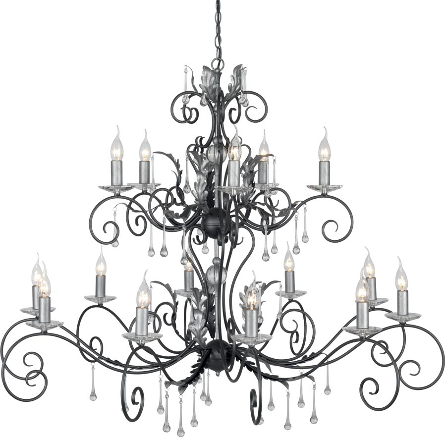 amarilli black and silver 15 light 2 tier very large