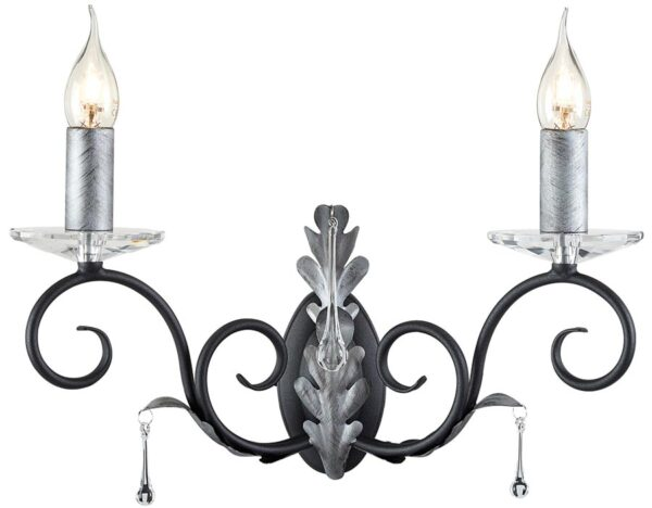 Amarilli Black And Silver 2 Lamp Wall Light UK Made