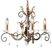 Amarilli Black And Gold 3 Light Chandelier UK Made