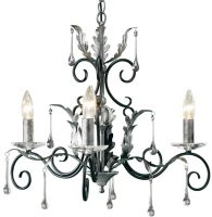 Amarilli Black And Silver 3 Light Chandelier UK Made