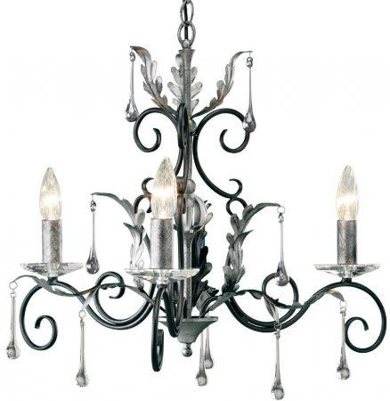 Amarilli Black And Silver 3 Light Chandelier UK Made
