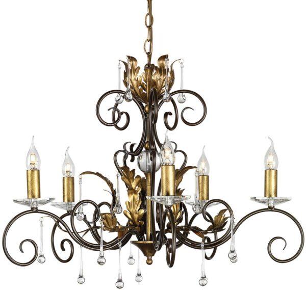 Amarilli Bronze & Gold 5 Light Chandelier Made In Britain