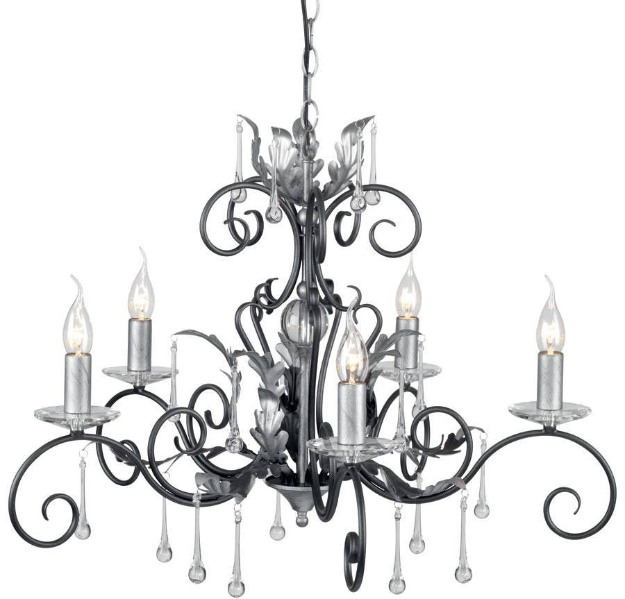 Amarilli black and silver 5 light chandelier uk made aml5 for Black and silver lamps