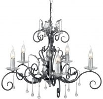 Amarilli Large Black And Silver 10 Light Large Chandelier
