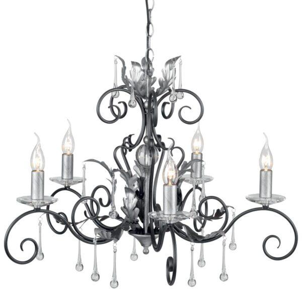 Amarilli Large Black And Silver 10 Light Large Chandelier