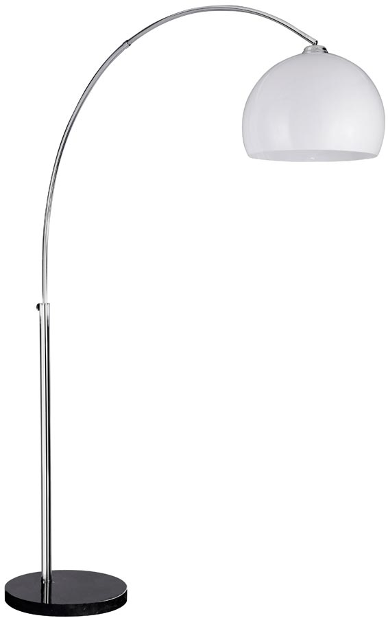 Arc Floor Lamp In Chrome With White Plastic Dome Shade
