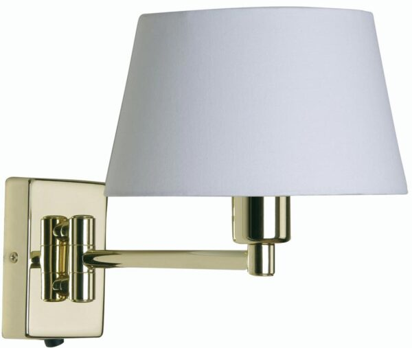 Armada Single Swing Arm Wall Light Switch Polished Brass Cotton Shade