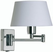 Armada Double Swing Arm Wall Light Switch Polished Chrome Cotton Shade