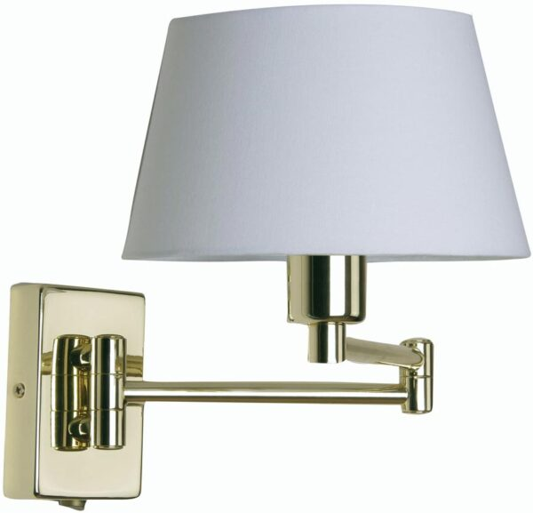 Armada Double Swing Arm Wall Light Switch Polished Brass Cotton Shade