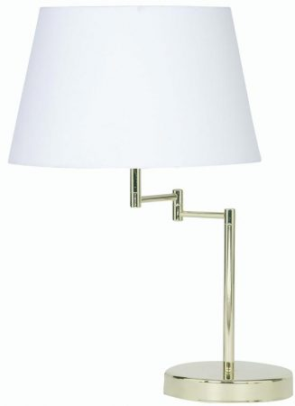 Armada Polished Brass Swing Arm Table Lamp Cotton Shade Choice